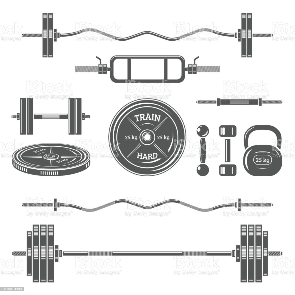 Sports equipment (barbell, dumbbell, weight, etc.). vector art illustration
