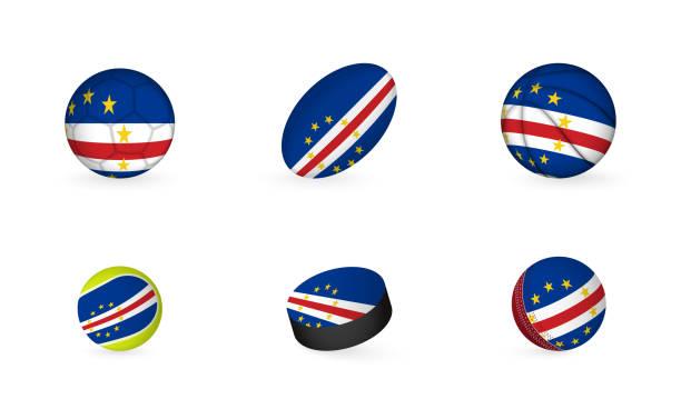 ilustrações de stock, clip art, desenhos animados e ícones de sports equipment with flag of cape verde. sports icon set. - cabo verde