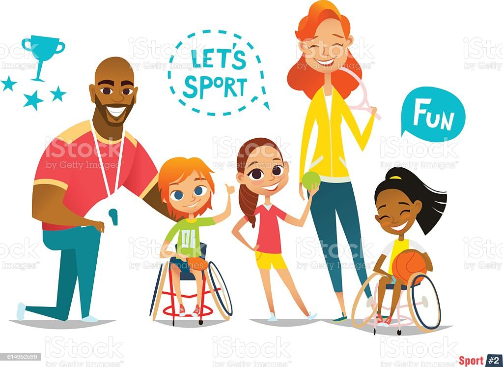 Sports family. Handicapped Kids in wheelchairs playing ball and have - ilustración de arte vectorial