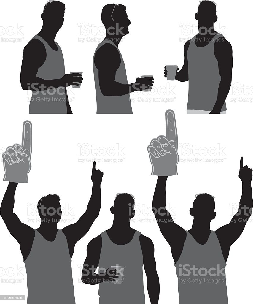 Sports fan in various actions vector art illustration