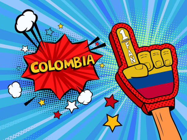 ilustrações de stock, clip art, desenhos animados e ícones de sports fan male hand in glove raised up celebrating win of colombia country flag. colombia speech bubble with stars and clouds. vector colorful fan illustration - soccer supporter portrait