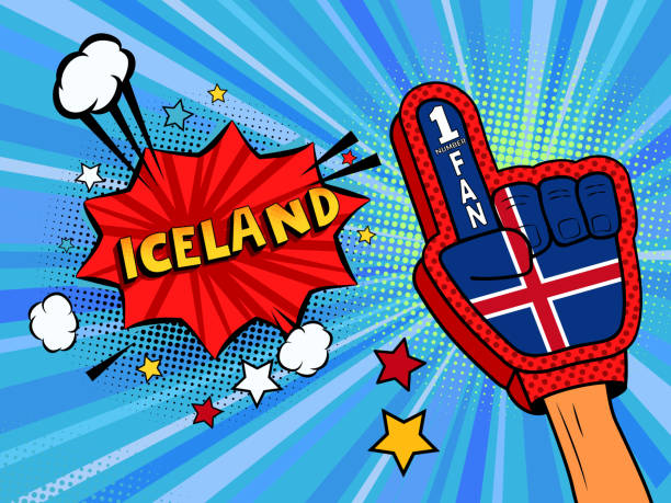 ilustrações de stock, clip art, desenhos animados e ícones de sports fan male hand in glove raised up celebrating win of iceland country flag. iceland speech bubble with stars and clouds. vector colorful fan illustration - soccer supporter portrait
