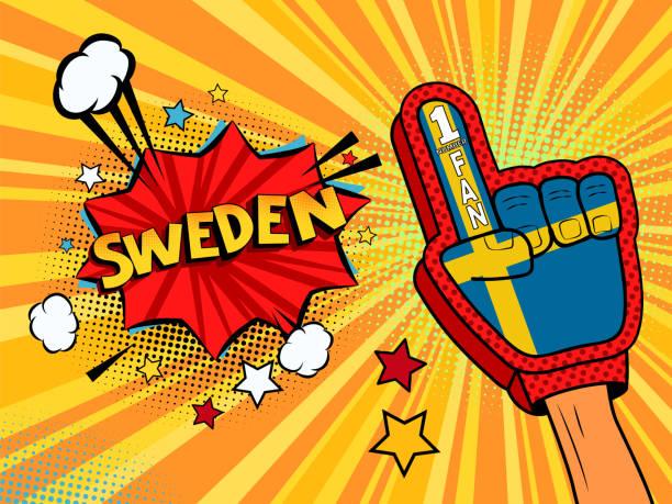 ilustrações de stock, clip art, desenhos animados e ícones de sports fan male hand in glove raised up celebrating win of sweden speech bubble with stars and clouds.  colorful pop art style fan illustration on white background - soccer supporter portrait