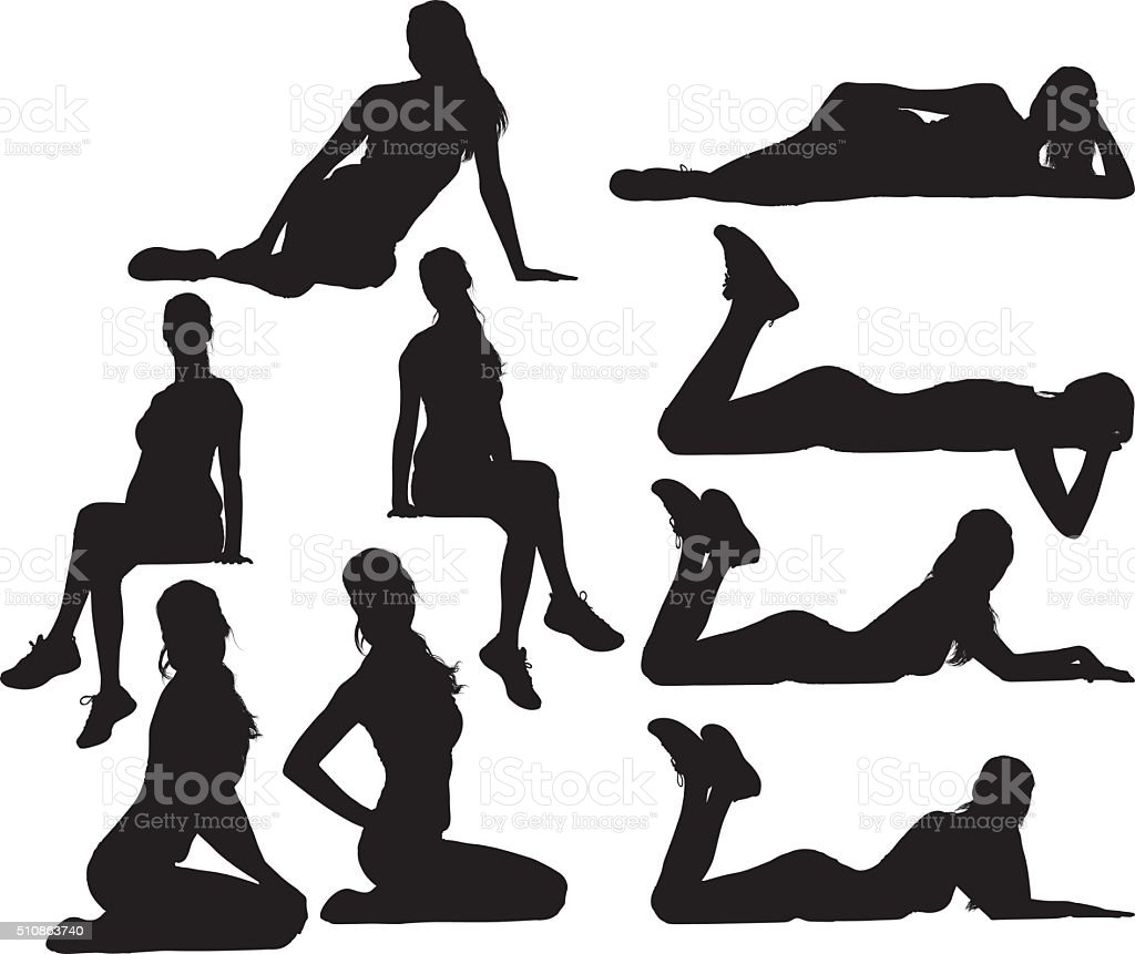 Sports female in various actions vector art illustration