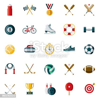 A set of 25 sporting goods flat design icons on a transparent background. File is built in the CMYK color space for optimal printing. Color swatches are Global for quick and easy color changes.