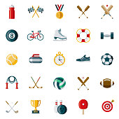 Sports Flat Design Icon Set
