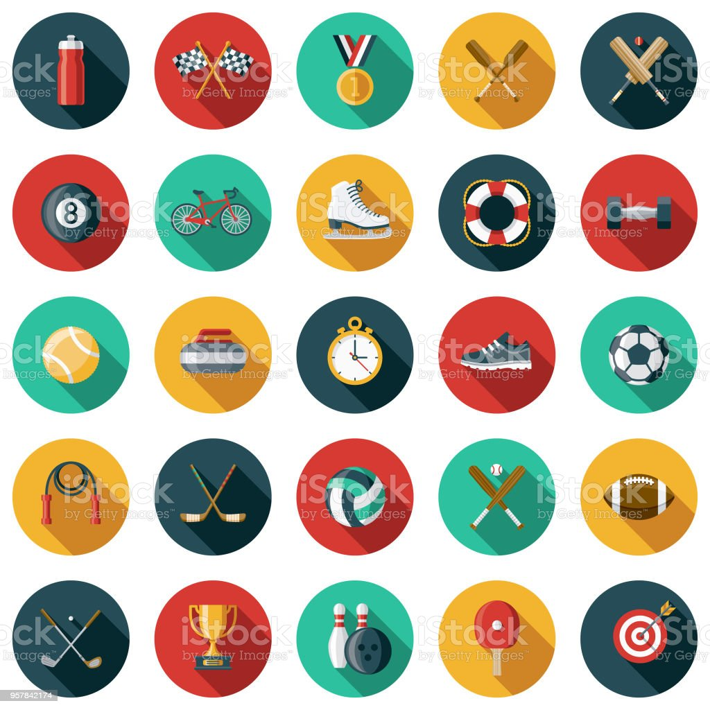 Sports Flat Design Icon Set with Side Shadow vector art illustration