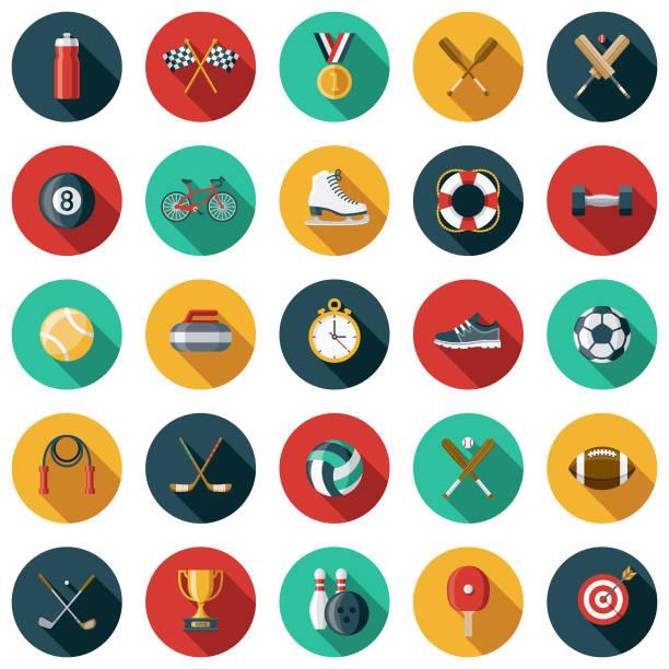 ilustraciones, imágenes clip art, dibujos animados e iconos de stock de deportes conjunto de iconos de diseño plano con sombra lateral - íconos deportivos