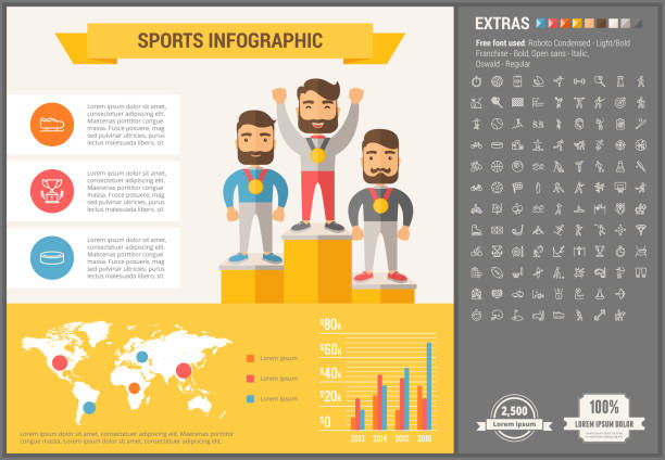 Sports flat design Infographic Template vector art illustration