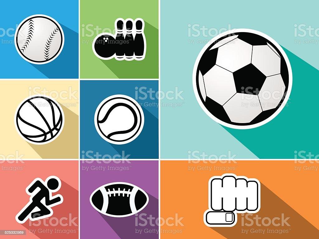Sports flat icons set vector art illustration