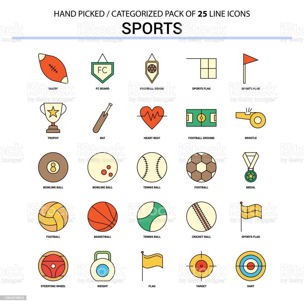 Sports Flat Line Icon Set - Business Concept Icons Design