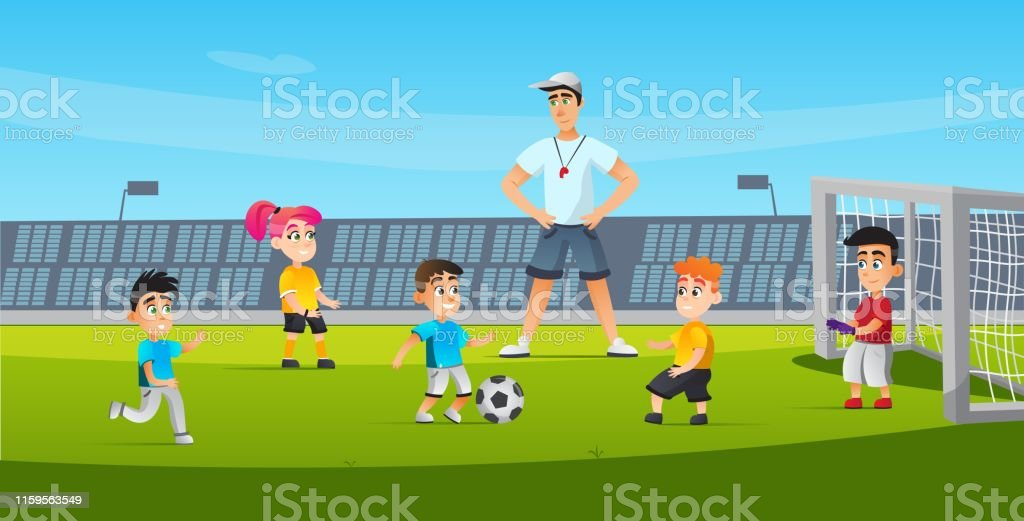 Sports for Children Soccer Training Cartoon Flat. Activity Boys and...