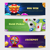 Sports gambling banners with lottery machine, fortune wheel golden coins money vector set. Casino luck banner with money, fortune and lottery illustration