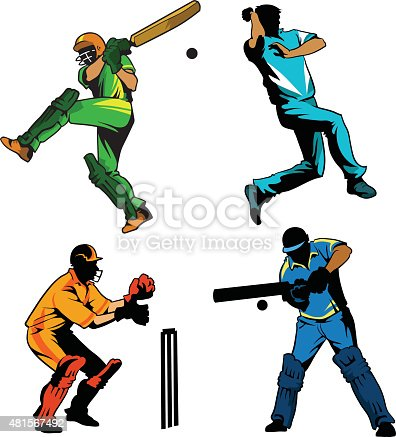 Sports Game of Cricket - Players Playing