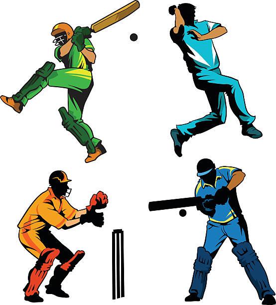 スポーツ-ゲームのクリケットプレイヤーが - クリケット点のイラスト素材/クリップアート素材/マンガ素材/アイコン素材