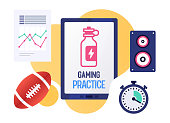 Vector illustration design template with smart device and sports and gaming practice text on its screen. Colorful web banner design with trendy decorations for corporate marketing or various vector illustrations.