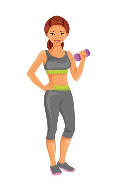 ilustrações, clipart, desenhos animados e ícones de garota esportiva. ilustração do vetor - personal trainer