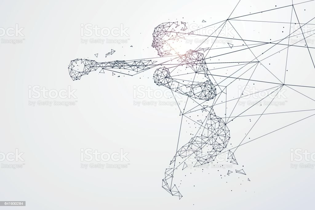 Sports Graphics particles, Network connection turned into, vector illustration. royalty-free sports graphics particles network connection turned into vector illustration stock illustration - download image now