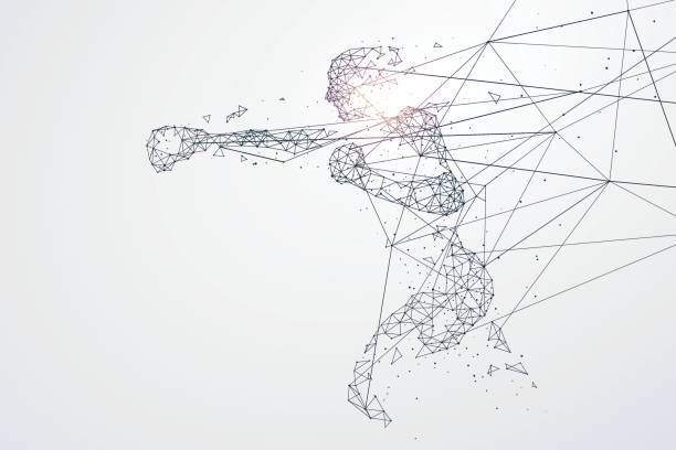 ilustraciones, imágenes clip art, dibujos animados e iconos de stock de partículas de deportes gráficos, red conexión dio vuelta en, vector de ilustración. - boxeo deporte