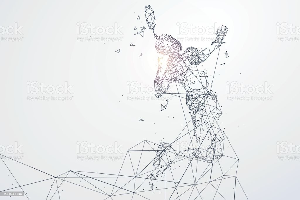 Sports Graphics particles, Network connection turned into, vector illustration. vector art illustration