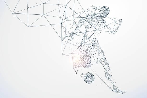 Sport Grafik Partikel, Netzwerk Verbindung umgewandelt, Vektor-Illustration. – Vektorgrafik