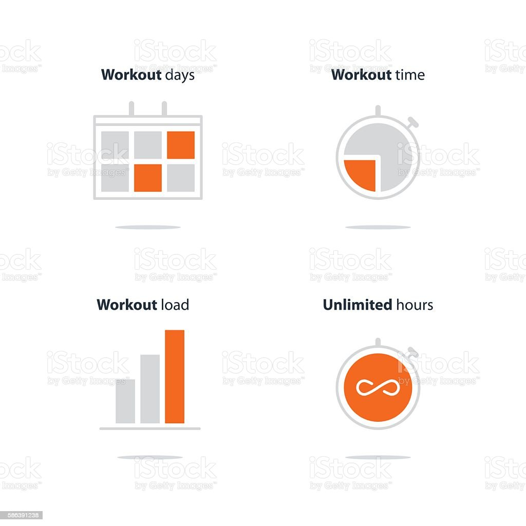 sports gym workout session daily schedule arrangements icons set
