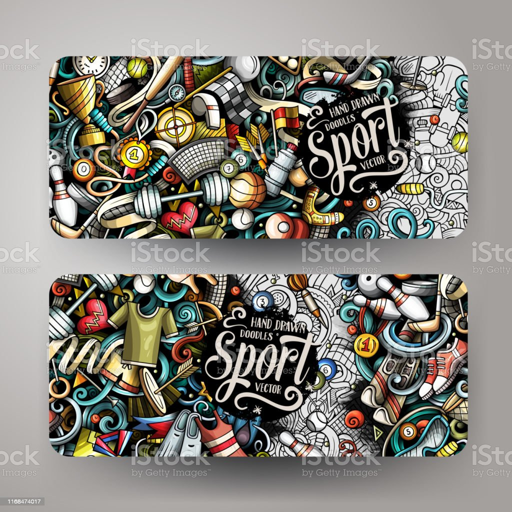 Sports hand drawn doodle banners set. Cartoon detailed flyers....