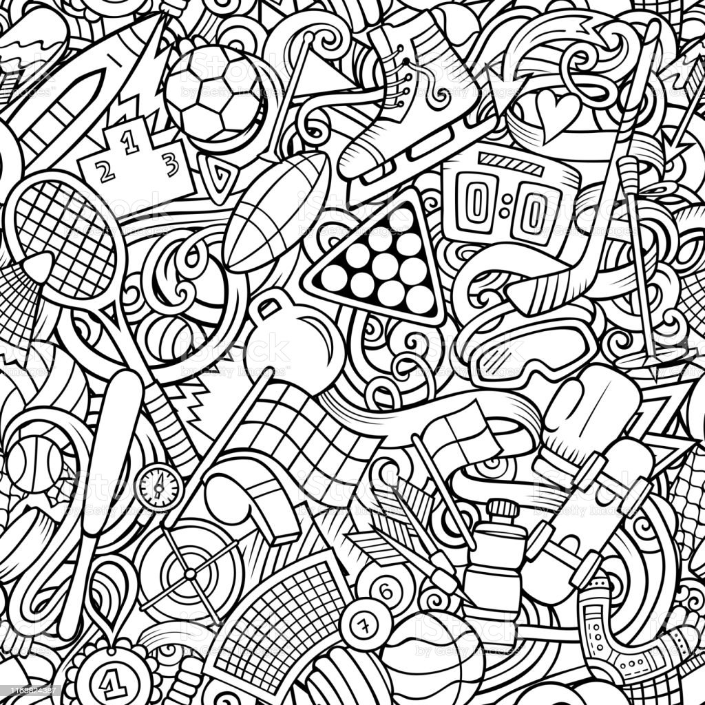 Sports hand drawn doodles seamless pattern. Line art, detailed, with...