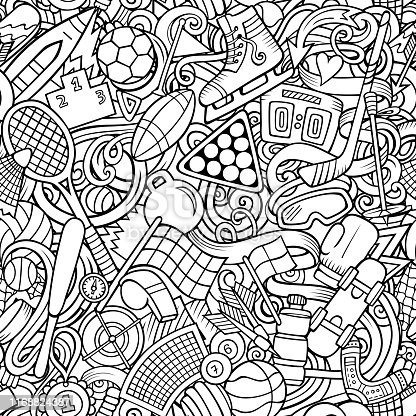 istock Sports hand drawn doodles seamless pattern. Line art, detailed, with lots of objects vector background 1168824387