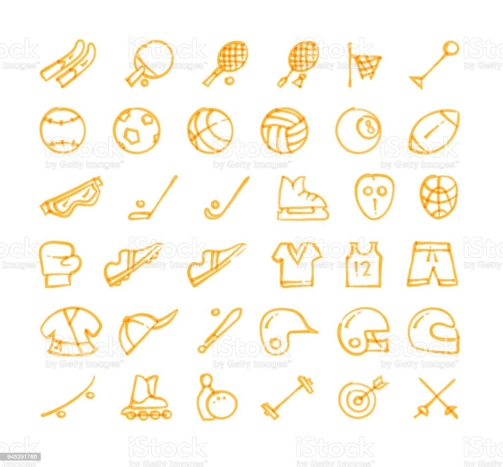 Sports hand drawn icons set vector art illustration