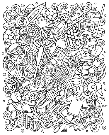 Sports hand drawn vector doodles illustration. Activities poster design.
