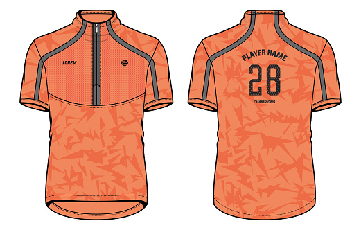 Sports High neck t-shirt jersey design concept vector template, sports jersey concept with front and back view for Soccer, Cricket, Football, Volleyball, Rugby, tennis, badminton and Cycling jersey.