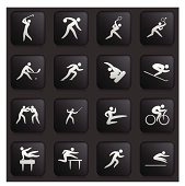 Sports Icon Collection on Black Buttons