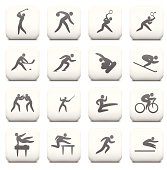 Sports Icon Collection on White Buttons