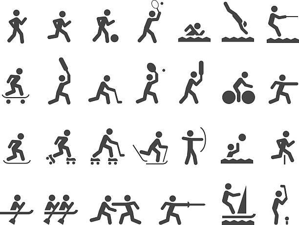 ilustraciones, imágenes clip art, dibujos animados e iconos de stock de conjunto de iconos de deportes - deportes de remo