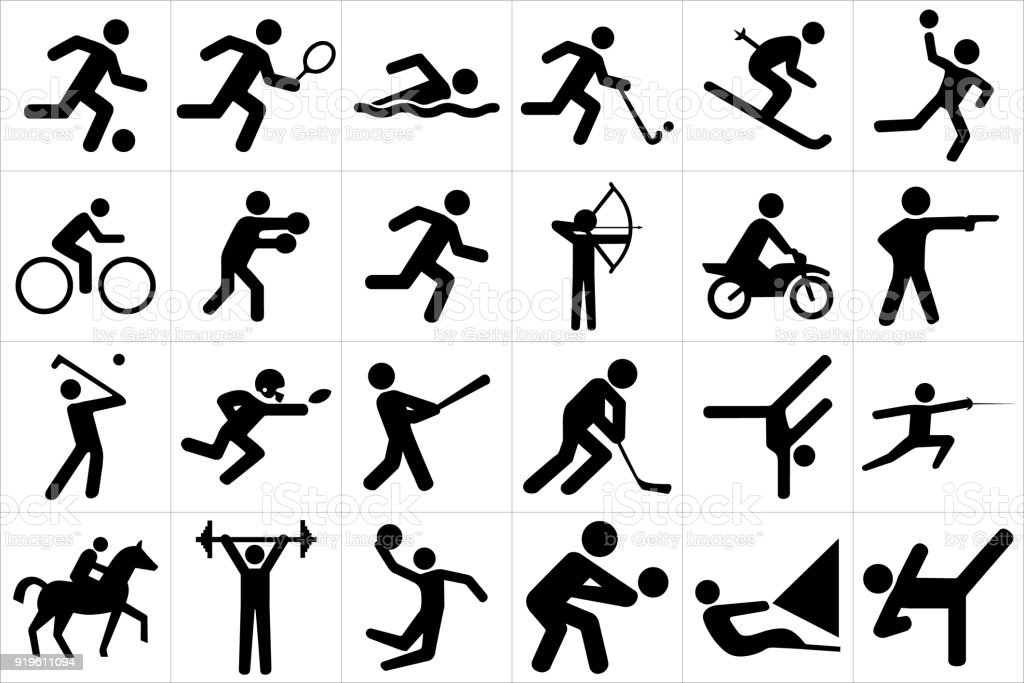 Sports icon set vector art illustration