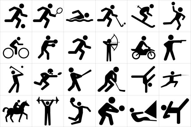 ilustraciones, imágenes clip art, dibujos animados e iconos de stock de conjunto de iconos de deportes - boxeo deporte