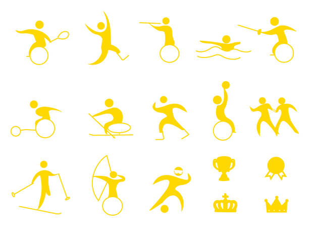 sports icon - wheelchair sports stock illustrations, clip art, cartoons, & icons