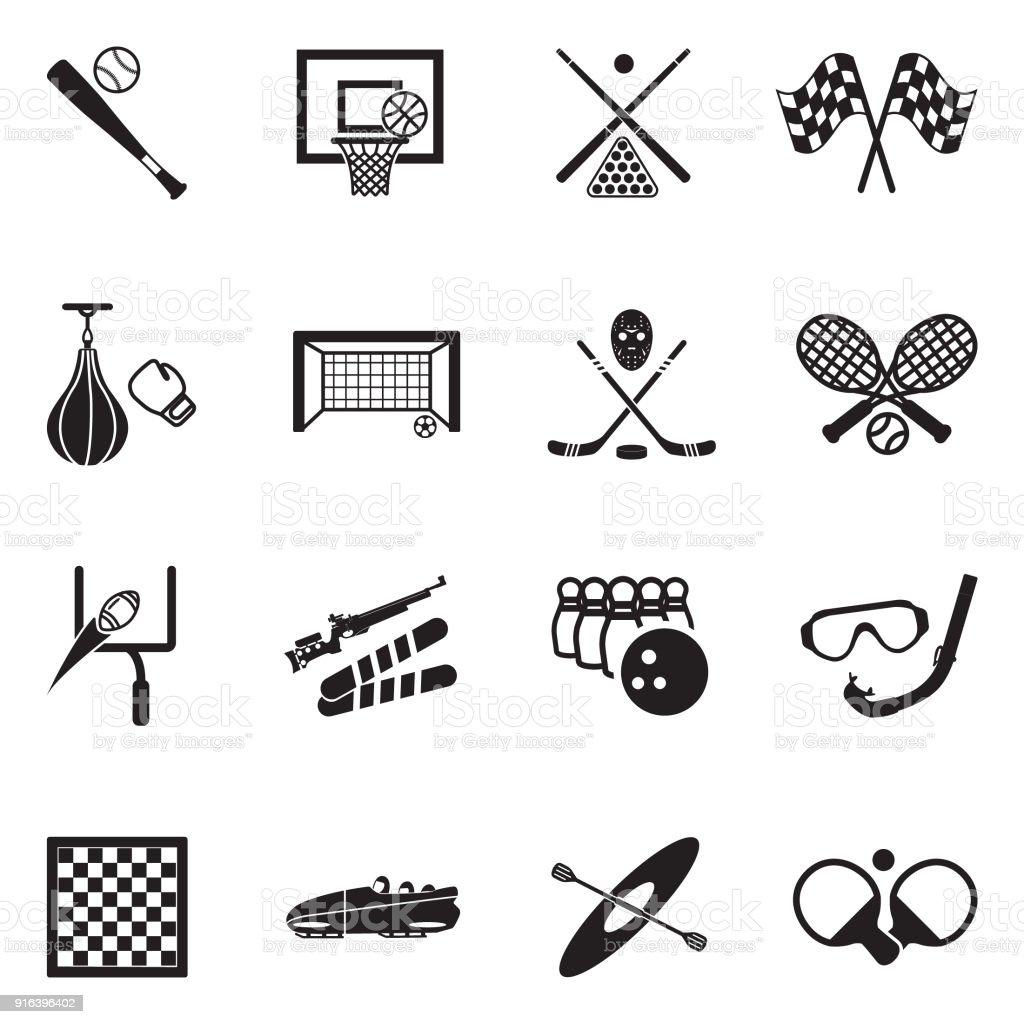 Icônes de sports. Design plat noir. Illustration vectorielle. - Illustration vectorielle