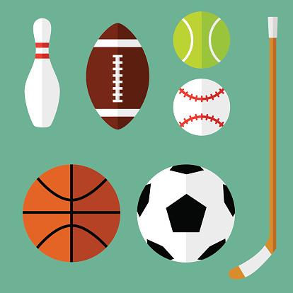 Спорт Иконки Плоский 1 — стоковая векторная графика и другие изображения на тему Bowling Pin