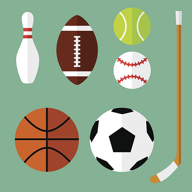sports icons flat 1 - football stock illustrations, clip art, cartoons, & icons