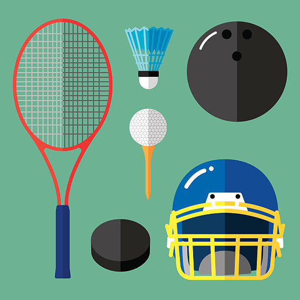 Sports Icons Flat 2 Vector illustration of a sports icon set in flat style. shuttlecock stock illustrations