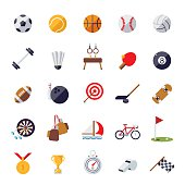 Sports icons flat design isolated vector set.