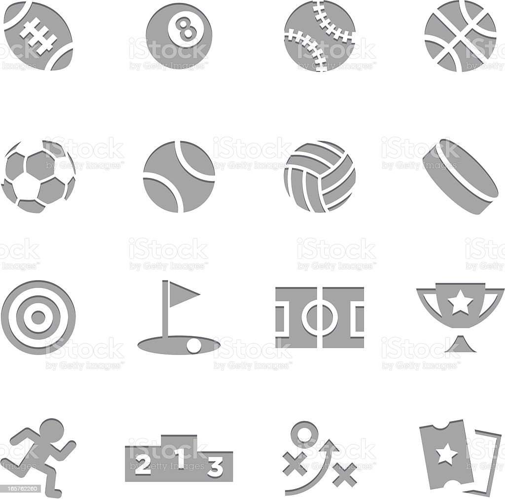 Sports Icons | Letterpress Series vector art illustration