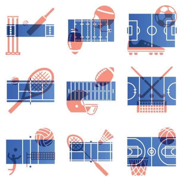 ilustrações, clipart, desenhos animados e ícones de conjunto de ícones de esportes. sobreposição de cor vermelha e azul de estilo. jogo de campo e equipamento de desporto combinação. - double exposure