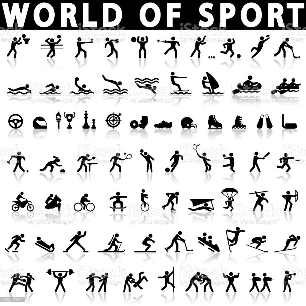 conjunto de ícones de esportes. vetores de conjunto de ícones de esportes e mais imagens de aeróbica royalty-free