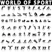 sports icons set on a white background with a shadow