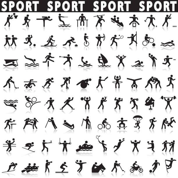 bildbanksillustrationer, clip art samt tecknat material och ikoner med sport ikoner set. - parkour