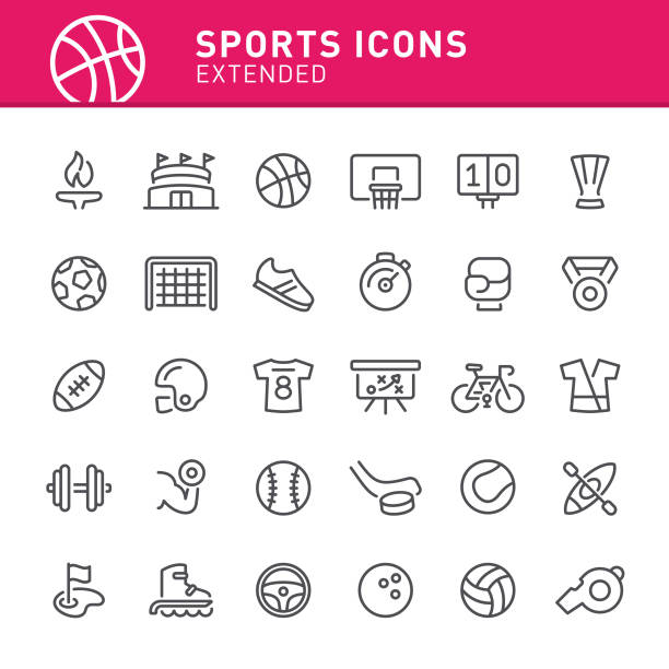 Sports Icons Sport, basketball, icon, icon set, Olympics, soccer, stadium, sports equipment rugby stock illustrations