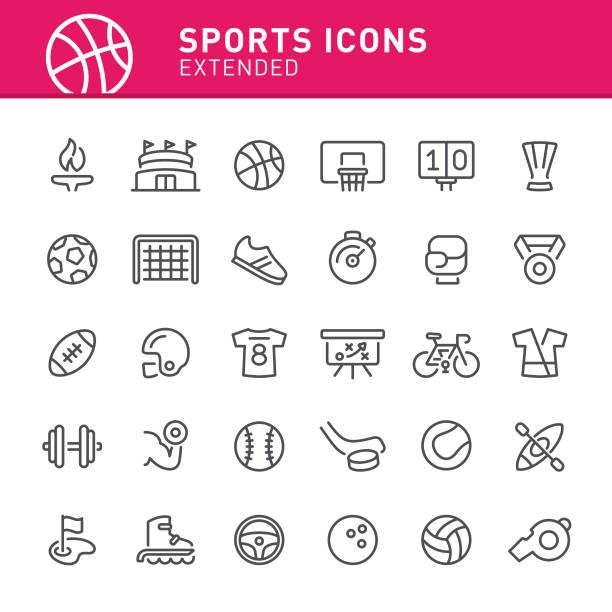 sport-ikonen - sport stock-grafiken, -clipart, -cartoons und -symbole